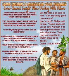 "But Na·thanʹa·el said to him: ""Can anything good come out of Nazʹa·reth?"" Philip said to him: ""Come and see."" Jesus saw Na·thanʹa·el coming toward him and said about him: ""See, truly an Israelite in whom there is no deceit."" (John 1:46,47 NWT)"