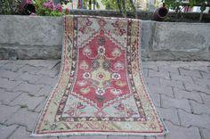 """Decorative Handwoven Rug Turkey Rug 2'5"""" x 4'4"""" Boho Rug Turkish Rug Ethnic Rug Rustic Vintage Rug Wool Rug Bohemian Rug Floor Rug"""