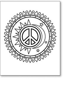 sun and moon peace sign adult coloring pagessun