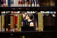 Kate Harrison Indoor Library Engagement Session