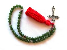 5 Decade Medieval Green Gemstone Rosary PATERNOSTER SCA Re-enactment LARP Costume.  Find me on Facebook!  :)