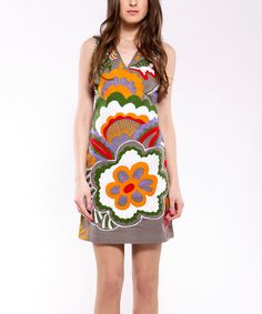 Take a look at this Orange & Brown Retro Floral Sleeveless Dress - Women on zulily today!
