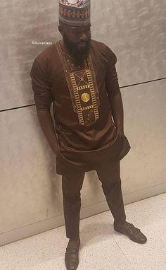 Vêtements africain de SuccesSexy hommes costume marron avec