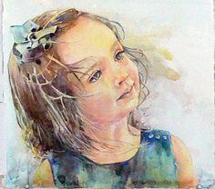 Watercolor portrait -- by Kim Johnson Watercolor Portrait Painting, Watercolor Face, Watercolor Artists, Portrait Art, Painting & Drawing, Painting People, Beautiful Paintings, Art Images, Art Sketches