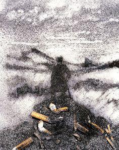 Vik Muniz painting made of cigarette ashes