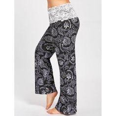 #RoseWholesale - #Rosewholesale Plus Size  Lace Foldover Bohemian Maxi Palazzo Pants - AdoreWe.com