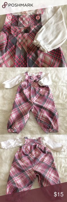 [Child Of Mine] Adorable Plaid Overall Pink, grey and white plaid overalls with matching white shirt. In EUC. Carter's Bottoms Overalls