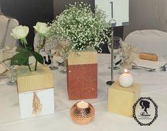 rose gold/wood blocks/baby breath wedding centerpiece