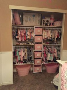 Shared girls closet / toddler and baby. Shared girls closet / toddler and baby - Kids Room Ideas. Shared girls closet / toddler and baby Baby Bedroom, Nursery Room, Girl Nursery, Girls Bedroom, Nursery Ideas, Baby Girl Bedroom Ideas, Kids Bedroom Ideas For Girls Toddler, Room Girls, Shared Kids Bedrooms
