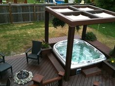 As seen on HGTV's Decked Out, a beautiful hot tub installed by The Spa Shoppe into a composite deck and under a gazebo.