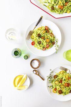 Noodled Zucchini with Pistachio Pesto