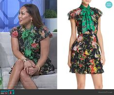 b47747f5640 Adrienne s black floral print tie neck dress on The Real. Outfit Details   https