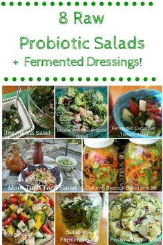 Probiotic Salads and Dressings - Cultured Food Life Best Probiotic Foods, Prebiotic Foods, Probiotic Drinks, Fermented Foods, Plant Based Recipes, Raw Food Recipes, Healthy Recipes, Lunch Recipes, Kefir