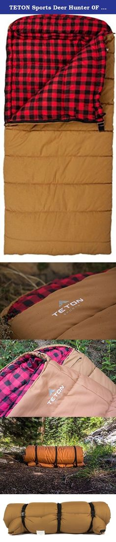 TETON Sports Deer Hunter 0F Sleeping Bag; 0 Degree Sleeping Bag Great for Cold Weather Camping and Hunting; Brown, Left Zip. The Deer Hunter 0°F sleeping bag will become your preferred companion on every hunt. With over seven feet of height and more than three feet of width, you'll have space head-to-toe and side-to-side. Canvas outer shell is durable and moisture resistant. Brushed flannel liner is as comfortable as bed sheets. Hollow fiber fill traps air and stays fluffy. This bag has...