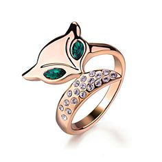 Yoursfs 18K Rose Gold Plated Cute Fox Ring Use Austria Crystal (8)