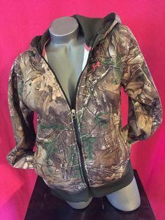 Under Armour Green And Pink Camo Long Sleeve Hoodie  Hoodie Full Zip Up Sz M #UnderArmour #Hoodie