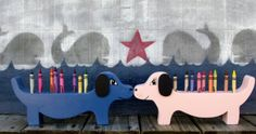 Pink or Blue Dachshund Crayon Holder. Wooden kid's toys, Hand Made wood crafts for every one. Proudly hand made in the USA. Carolina Country Crafts on Etsy  $14.00