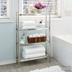 Keep clutter in control by adding a shallow metal rack.