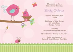 """Tweet"" your friends with this baby shower invitation featuring a bird and baby bird in pink and tuquoise backed with polka dots for baby girls"
