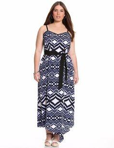 945ab6aa23ca NEW $89 Ribbon MAXI dress asymetric gown size 14/16 LANE BRYANT blue dye 1X