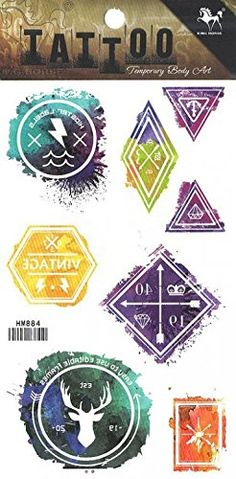 """Grashine long last temporary tattoos Different shapes totem look like real temporary tattoo stickers including square,rectangle,round,triangle,etc. Tattoo size : 4.13""""x*8.07"""" (10.5CM x 20.5CM).Extremely realistic temporary tattoos that look exactly like a real tattoos.\r\n. These temporary tattoos are 100% waterproof and long lasting...for up to 5 days, even while swimming & bathing.\r\n. Precut tattoos dab on with water in seconds, brush with your skin-toned face powder to set.\r\n...."""