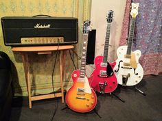 A nice Marshall 50 watt Plexi, a Les Paul, Gretsch Jet and White Falcon belonging to SNEW guitarist Andy Lux during overdubs for their What's It To Ya album. http://bobbyowsinski.com #recording #guitars