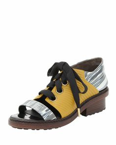 Floreana Lace-Up Open-Toe Loafer, Avocado/Black/White by 3.1 Phillip Lim at Bergdorf Goodman.
