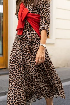 697c8a58b31e Leopard Print Midi Dress   Red Cashmere Jumper Street Style Outfits