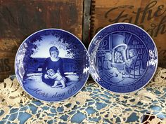 Two Georg Jenson Collectors Plates from Denmark, Mothers Day, 1973 First Issue and 1974 Boy and Girl and Cat Reading by the Fire. by SunshineVintageGoods on Etsy