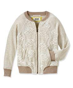 Look at this #zulilyfind! Cream Lace Zip-Up Bomber Jacket - Infant, Toddler & Girls #zulilyfinds