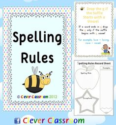 Spelling Rules Posters and Record Sheets This file includes 35 x full-page spelling rules posters.    In your file you also have a spelling rules poster, a poster saying; Our Class is Currently Focusing on the Following Spelling Rule: .... You also have a blank polka-dot background to laminate and mount the rule that you are focusing on.    To compliment the above mentioned poster, you also have a student page that says, Our class is currently focusing on the following spelling strategy: