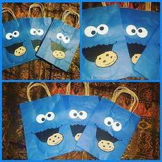 Cookie Monster favor bags...sesame street party..cookie