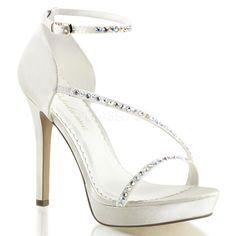 FABULICIOUS LUMINA-26 Ivory Satin Ankle Strap Sandals