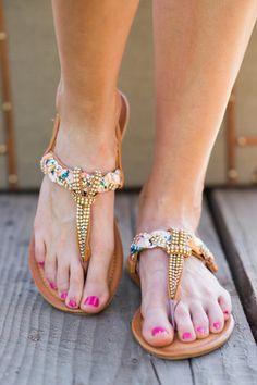 21145b7153f46e Floral Bling Braided Boho Sandals (Camel) - NanaMacs.com - 1 Boho Sandals