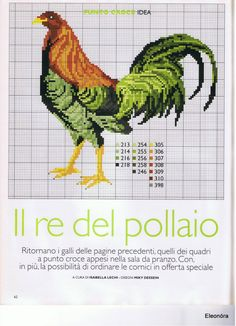 Cross Stitch Pattern for a Brown and Green Rooster ___ Such an interesting colors. Rooster Cross Stitch, Chicken Cross Stitch, Cross Stitch Kitchen, Mini Cross Stitch, Cross Stitch Needles, Cross Stitch Animals, Cross Stitch Flowers, Cross Stitch Charts, Counted Cross Stitch Patterns