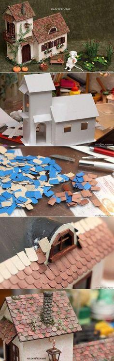67 Ideas for doll house miniatures diy Putz Houses, Fairy Houses, Doll Houses, Diy Dollhouse, Dollhouse Miniatures, Cardboard Dollhouse, Cardboard Model, Victorian Dollhouse, Modern Dollhouse