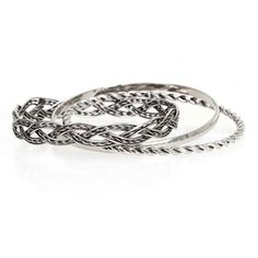 Silver Twisted + Braided Metal Alloy Bangle Bracelets, $2.50