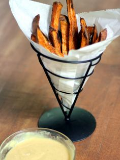 Baked sweet potato fries with homemade honey mustard dipping sauce via ambitiouskitchen.com