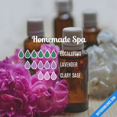 Homemade Spa Essential Oil Diffuser Blend by lenora Essential Oil Diffuser Blends, Essential Oil Uses, Doterra Essential Oils, Aroma Diffuser, Essential Oils Energy, Clary Sage Essential Oil, Cedarwood Oil, Aromatherapy Oils, Wellness