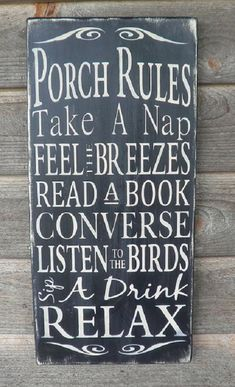 Porch Rules, Wood Sign,patio Rules Sign Outside Decor, Distressed Sign…