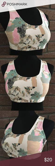 """🆕 Body Wear Athletic Top Colors are tan, pink, green, black on cream. Athletic top has a 13"""" relaxed to 16.5"""" stretched elastic band at bottom. Measurements flat are from shoulder area to bottom of top is 12"""" & pit to pit is 14.5"""". In excellent condition with NO spots or damage. Tops"""