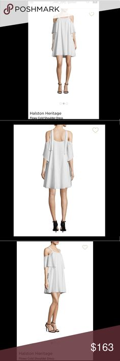 🌟HALSTON SPRING WHITE & LGHT GREY DAY DRESS🌟 IN LIKE NEW CONDITION WORN FOR AN HOUR AT GRADUATION  Fits 1 Size Large (I'm usually a medium but small fit!) It would fit a medium (8-10) or small (2-4) depending on how you want it to look! Halston Heritage Dresses