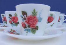 6 Vintage Retro 70's JAJ Pyrex Cottage Rose Cups & Saucers