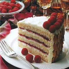 Almond scented white cake with cream cheese frosting And raspberry preserves - via Williams-sonoma