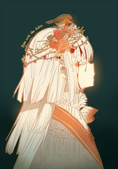 Anime art, girl, blood, bird, vegetal crown, flowers, thorn