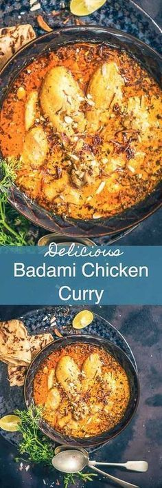 Badami Chicken Curry, Almond Chicken Curry or Chicken Curry with Almonds as the name suggests is a rich chicken curry made along with almonds. I Indian I Chicken I Curry I recipe I almond I Badami I Easy I simple I quick I Perfect I delicious I Everyday I Veg Recipes, Indian Food Recipes, Asian Recipes, Cooking Recipes, Healthy Recipes, Chicken Curry Recipes, Fennel Recipes, Indian Chicken Recipes, Cream Recipes