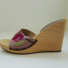 COACH SHOES Heel is 4.25 inches  Wood is cracked on back of one heel Wood has some scraps  See photos Coach Shoes
