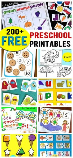 Over 200 FREE printables for preschoolers including alphabet activities, letter matching, letter sounds, number recognition, counting, scissor skills, tracing, fine motor, science activities, seasonal, themed and more!