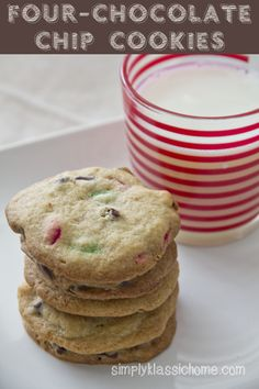 Four-Chocolate Chip Cookies