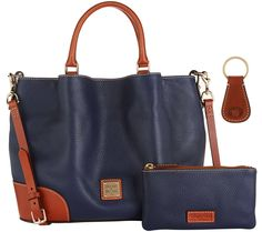 Dooney & Bourke Pebble Leather Brenna Satchel with Accessories Midnight blue or caramel